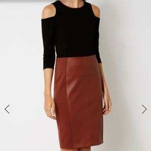 Karen Miller Faux leather and jersey pencil skirt